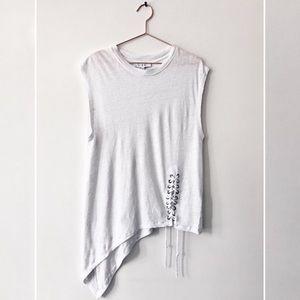 IRO // Karami Linen Asymmetrical Lace-Up Top